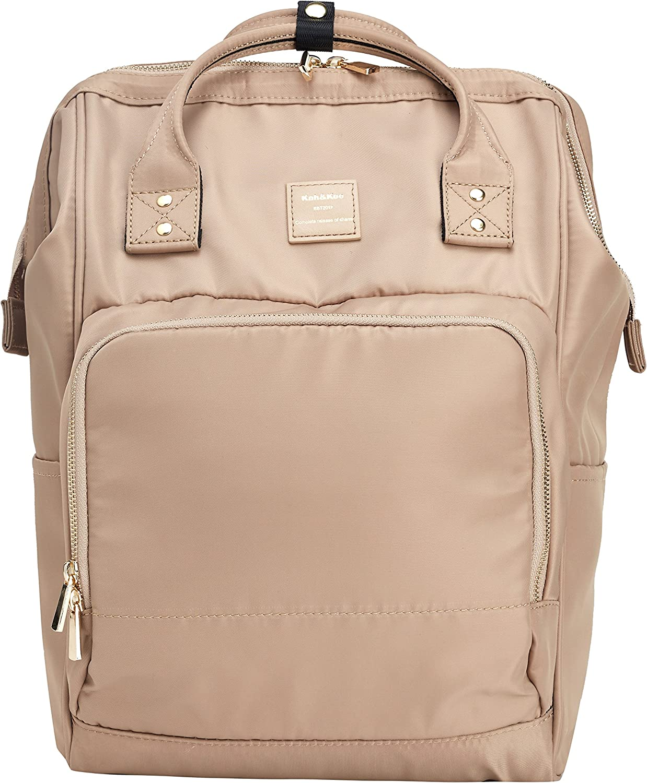 Kah&Kee Nylon Backpack Diaper Bag with Laptop Compartment Waterproof Work Travel School for Women Man (Beige)
