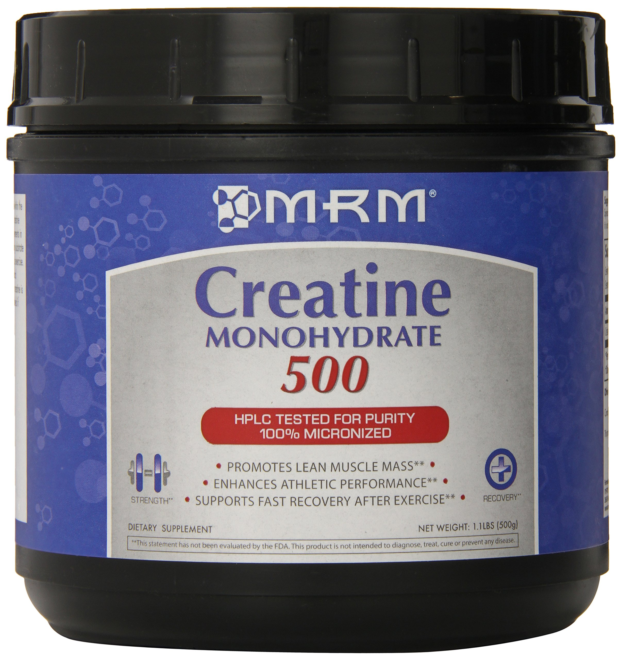 MRM - Creatine Monohydrate 500, Enhances Athletic Performance & Supports Fast Post-Exercise Recovery, Enhances Lean Muscle Mass & Strength (1.1 lbs)