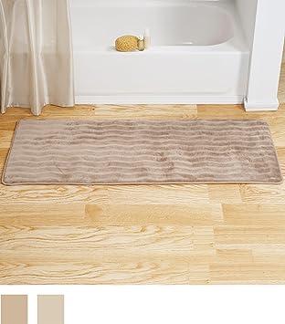 Bedford Home Memory Foam Extra Long Bath Rug Mat   Taupe   24x60