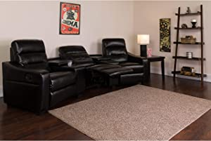 Flash Furniture Futura Series 3-Seat Reclining Black LeatherSoft Theater Seating Unit with Cup Holders