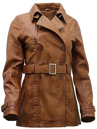 0e559d19c8e Women's 3/4 Tan Ladies Lamb Nappa Leather Trench Coat at Amazon ...