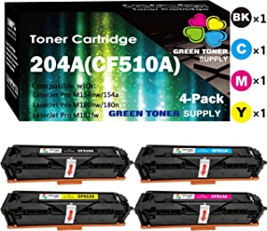 (4-Pack, B+C+M+Y) Compatible CF510A CF511A CF512A CF513A Toner Cartridge 204A Used for HP Color Laserjet Pro MFP M154 M154a M154nw M180n M180nw M181 M181fw Printer, by GTS