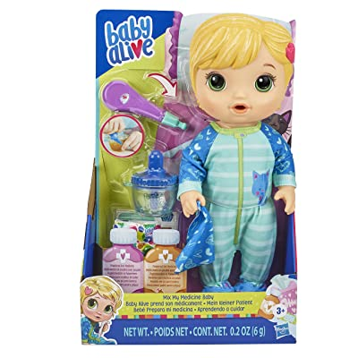 Baby Alive Mix My Medicine Baby Doll, Kitty-Cat Pajamas, Drinks and Wets, Doctor Accessories, Blonde Hair Toy for Kids Ages 3 and Up: Toys & Games