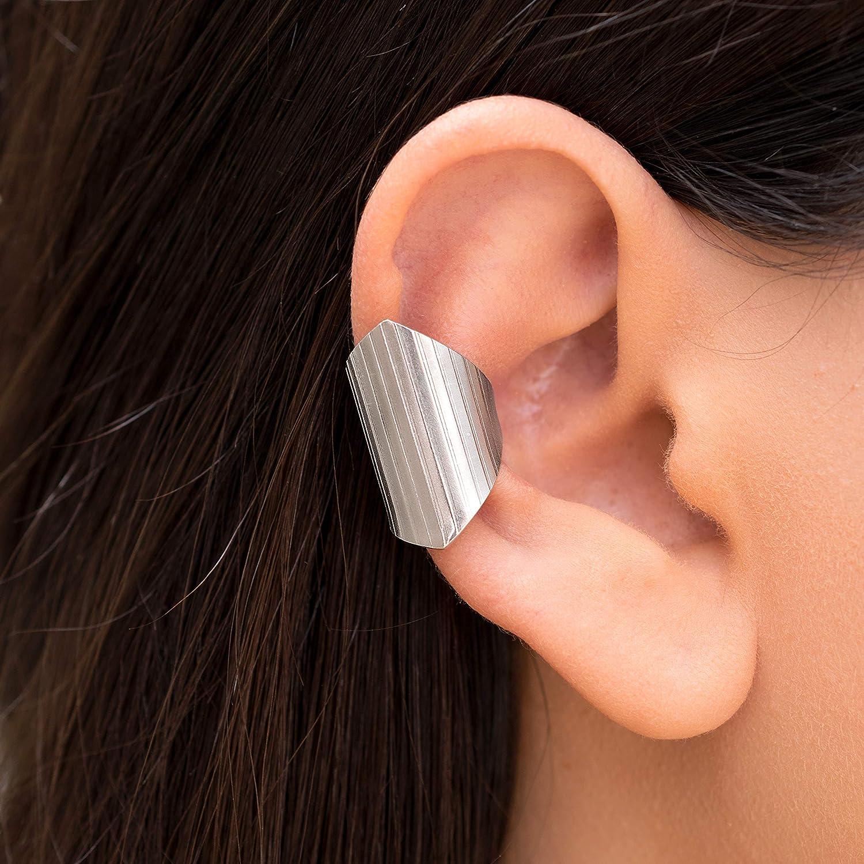 Geometric ear cuff no piercing gift, ear cuff non pierced, silver earcuff no piercing, suspender earring, silver ear crawler, rose gold ear cuff by Emmanuela