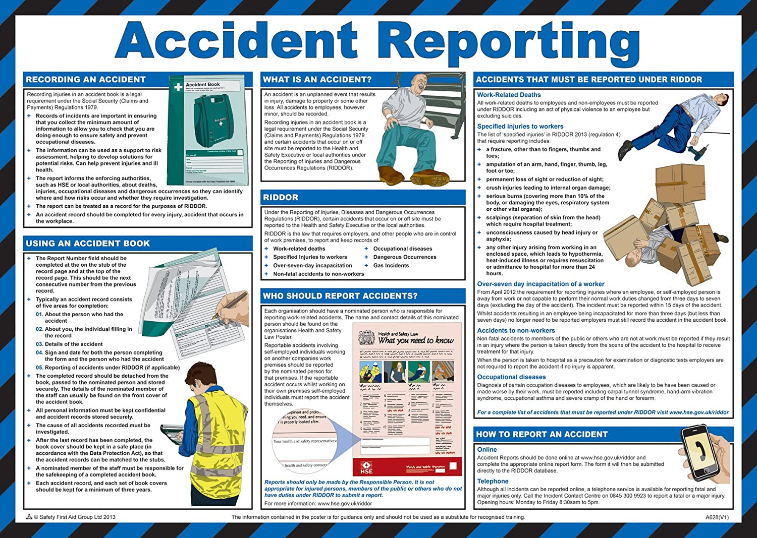 UK 2018 Official Health /& Safety Workplace Guide Poster 59x42cm Laminated