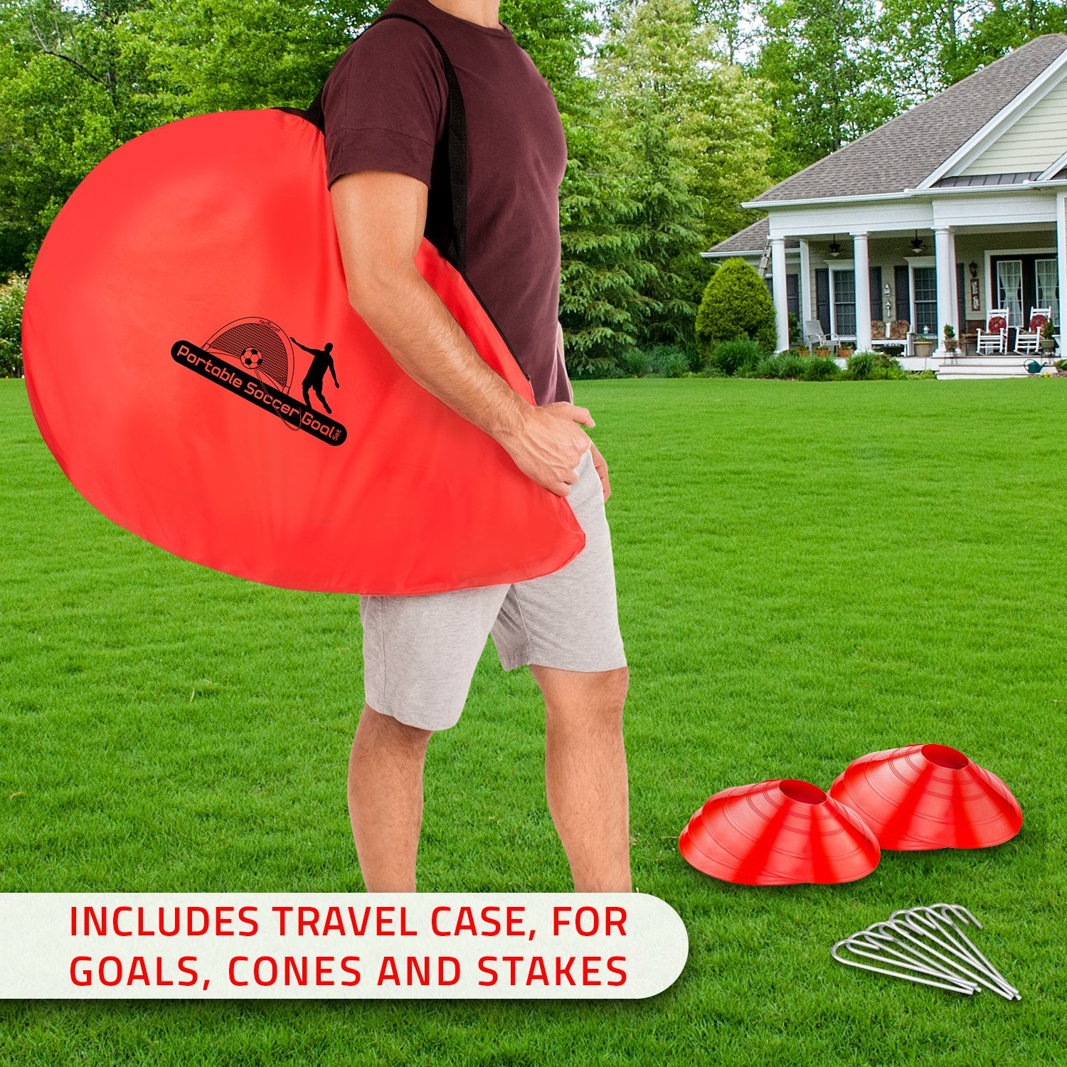 Abco Tech Portable Soccer Goal Set for Training, Practice & Game – Pop-up Soccer Net – 2 Soccer Goals, 6 Disc Cones & 8 Spikes – Carry Bag – Easy to Assemble & Store – Be it Backyard or Public Fields by Abco Tech (Image #2)