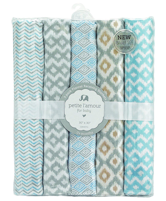 Blue//White CM40711 Regent Baby 5 Piece Receiving Blanket