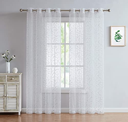 LinenZone Embroidered Voile Sheer Curtains