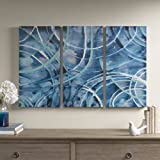 "Décor 5 - Printed Triptych Canvas Set - 3 Pieces, 14'' x 28"" - Circa - Abstract, Dark Blue"