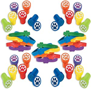 Paw Patrol Party Favor Set, 24 Paw Print Rubber Bracelets, 24 Paw Print Stampers, paw patrol party supplies, Great Party Favor, Gift, Goody Bag Stuffer, For Kids, By 4E's Novelty
