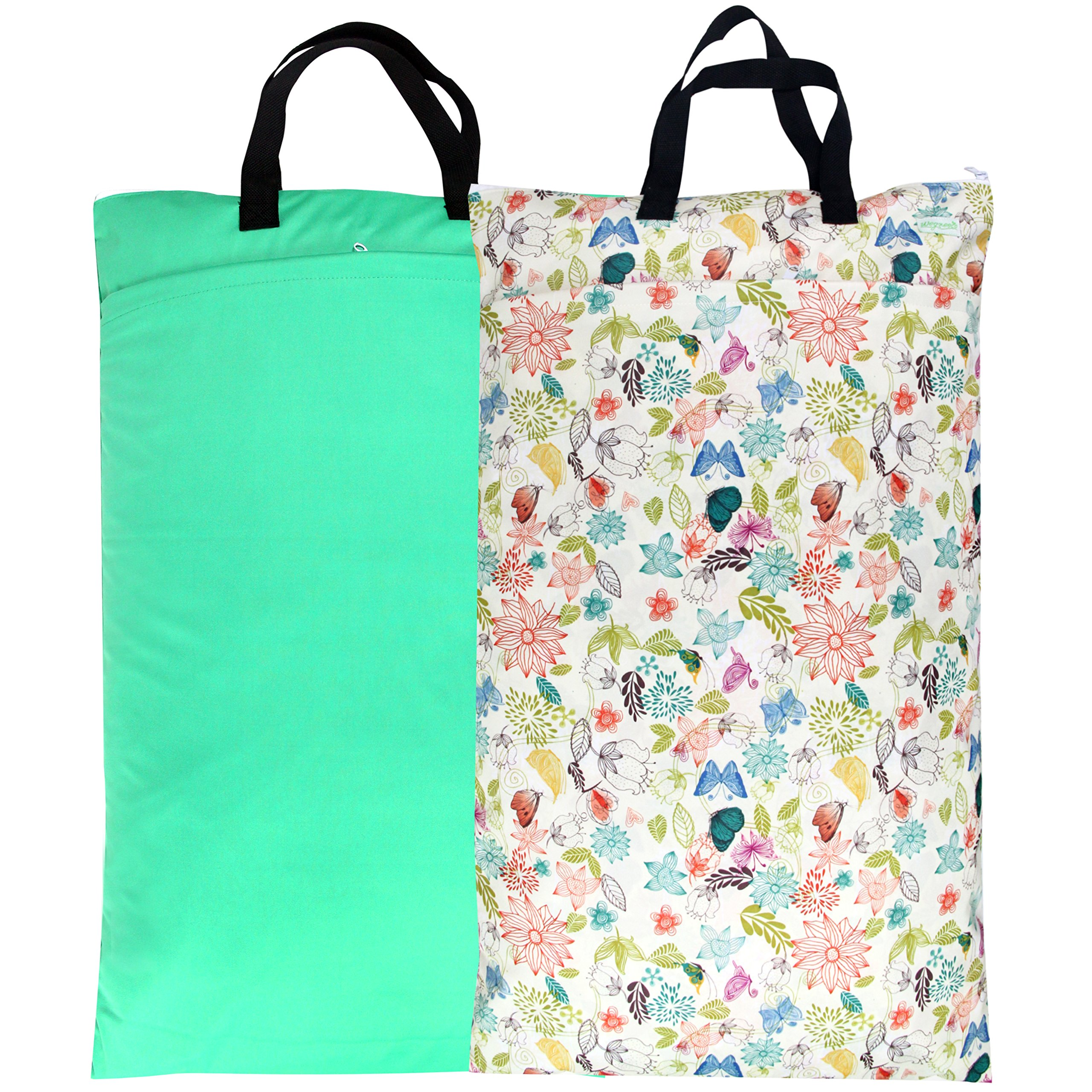 Wegreeco Reusable Hanging Wet Dry Cloth Diaper Bag(2 PACK,Jade,Camellia)