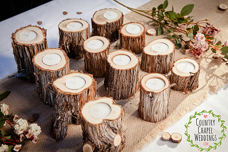 Christmas Tablescape Decor - Handmade Juniper Wood Candle Holders - Set of 12  by Country Chapel Weddings