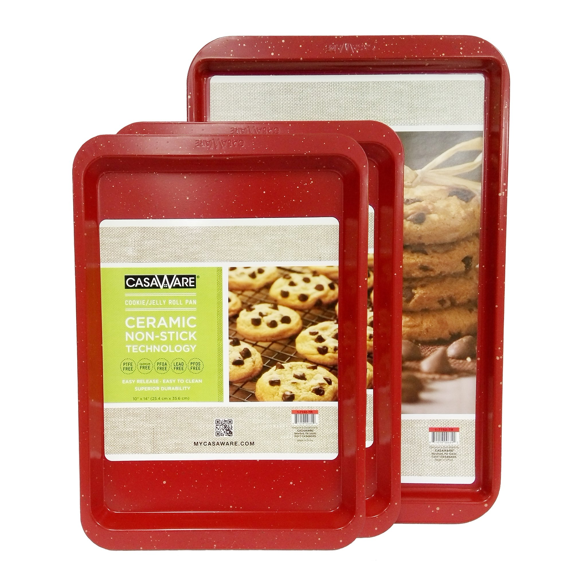 casaWare 3pc Multi-Size Cookie Sheet/Jelly Roll Pan Set (Red Granite)