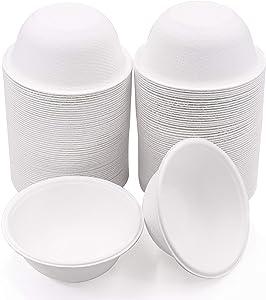 75 Disposable 8 OZ Chili Bowls for hot Soup Compostable Biodegradable Styrofoam Paper Alternative