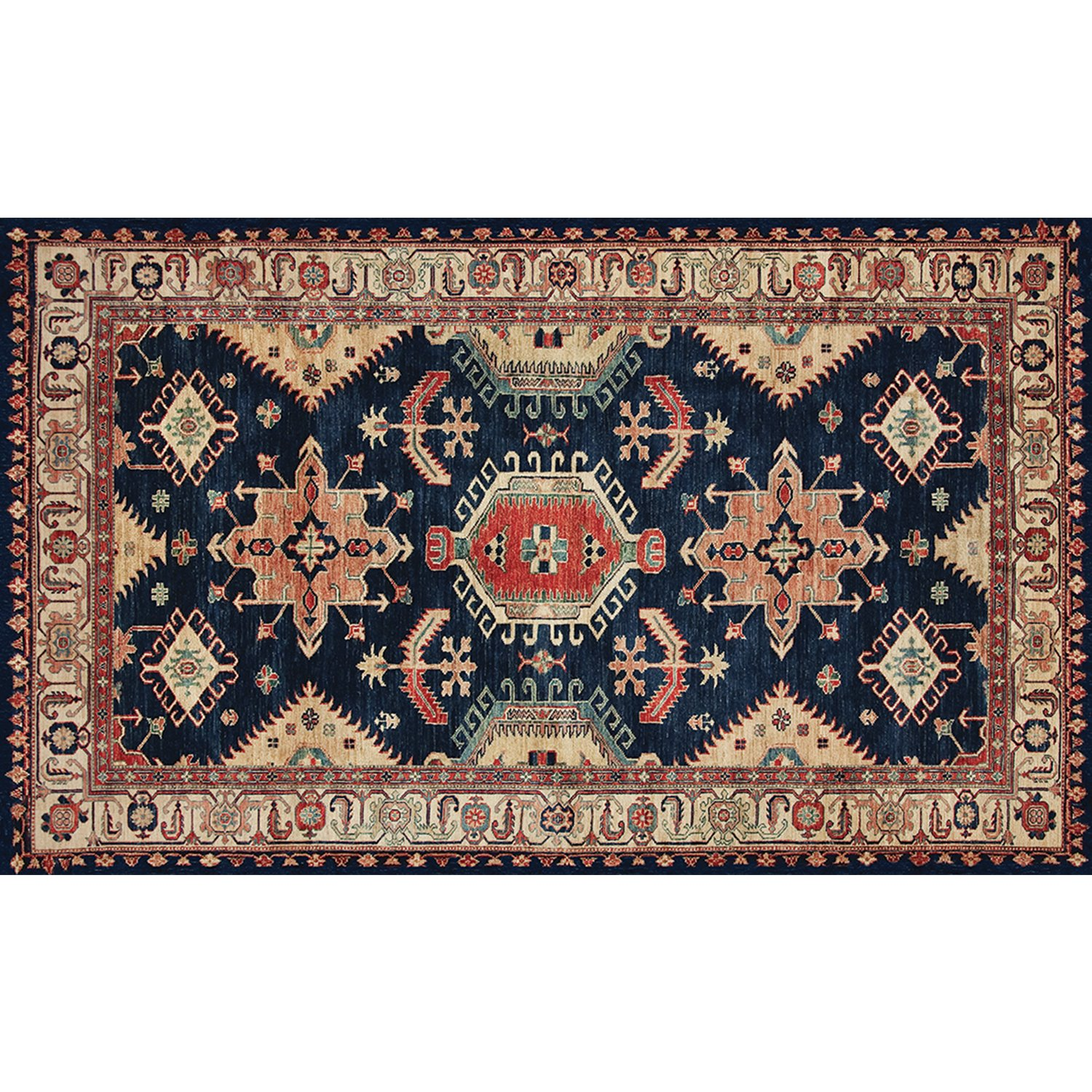 RUGGABLE Washable Indoor/Outdoor Stain Resistant 3'x5' (36''x60'') Accent Rug 2pc Set (Cover and Pad) Noor Sapphire by RUGGABLE (Image #1)