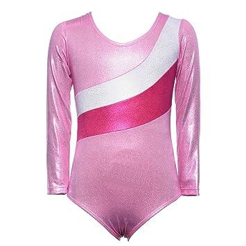 anlaida Justaucorps de Danse dance Rayures Ballet Uniforme Gymnastique  Brillant Manche Longue Leotards fille 3- 549a9ec4d9d