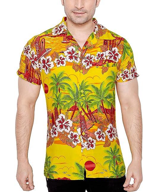 TROPICAL VIBES Camisa Hawaiana Florar Casual Manga Corta Ajustado para Hombre