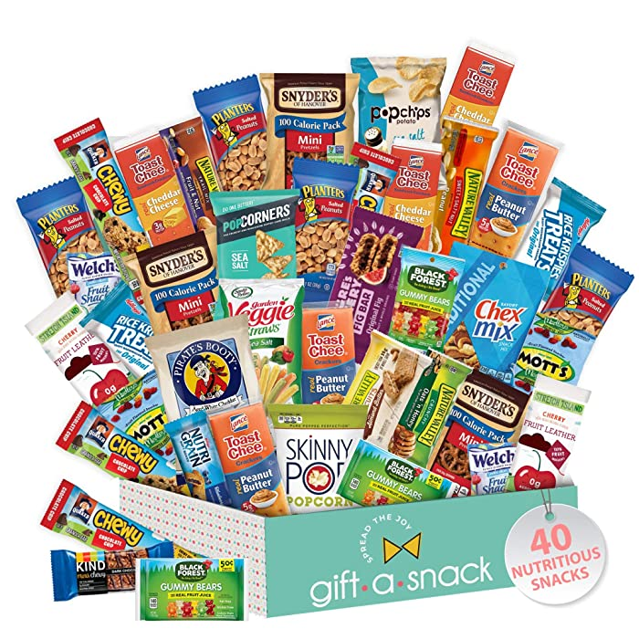 Healthy Snack Box Variety Pack (40 Count) Gift Basket - College Student Care Package, Natural Food Bars Nut Fruit, Nutritious Chips - Ultimate Birthday Treat for Women, Men, Adults, Teens, Kids