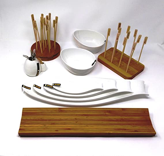 Bandeja para quesos, embutidos y aperitivos de madera de bambú 40 cm: Amazon.es: Hogar
