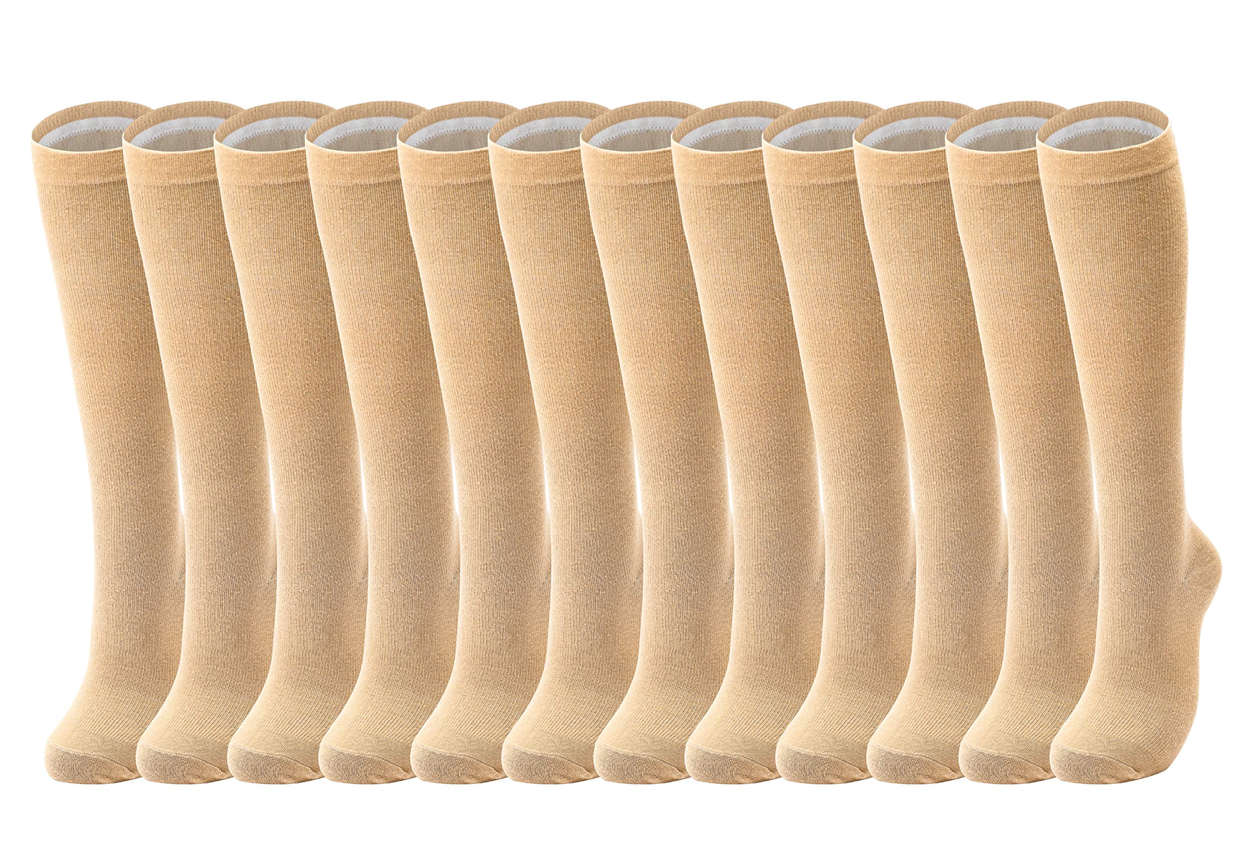 Compression Socks Women Men 15-20 mmHg, 6/7/12-Pairs Mens Womens Athletic Sock for Dress,Running,Medical,Varicose Veins,Travel (Skin color-12 pairs, L/XL(US Women 8-15.5/US Men 8-14)) by Cored Health