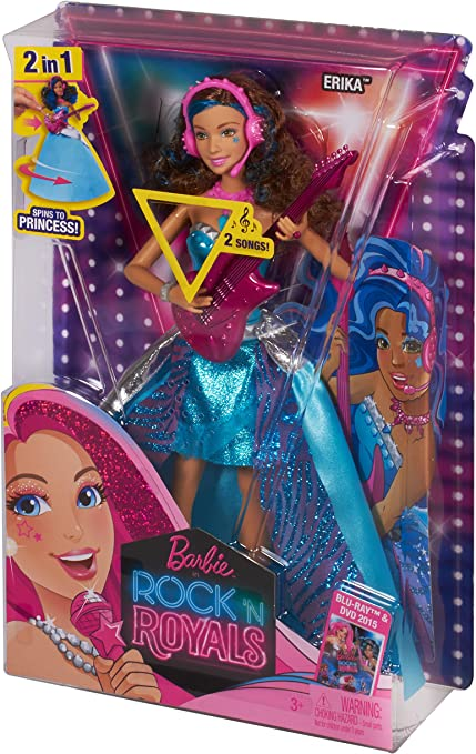 Barbie Doll Courtney in Rock /'n Royals 2-IN-1 Spins to Princess 2 Sings Songs