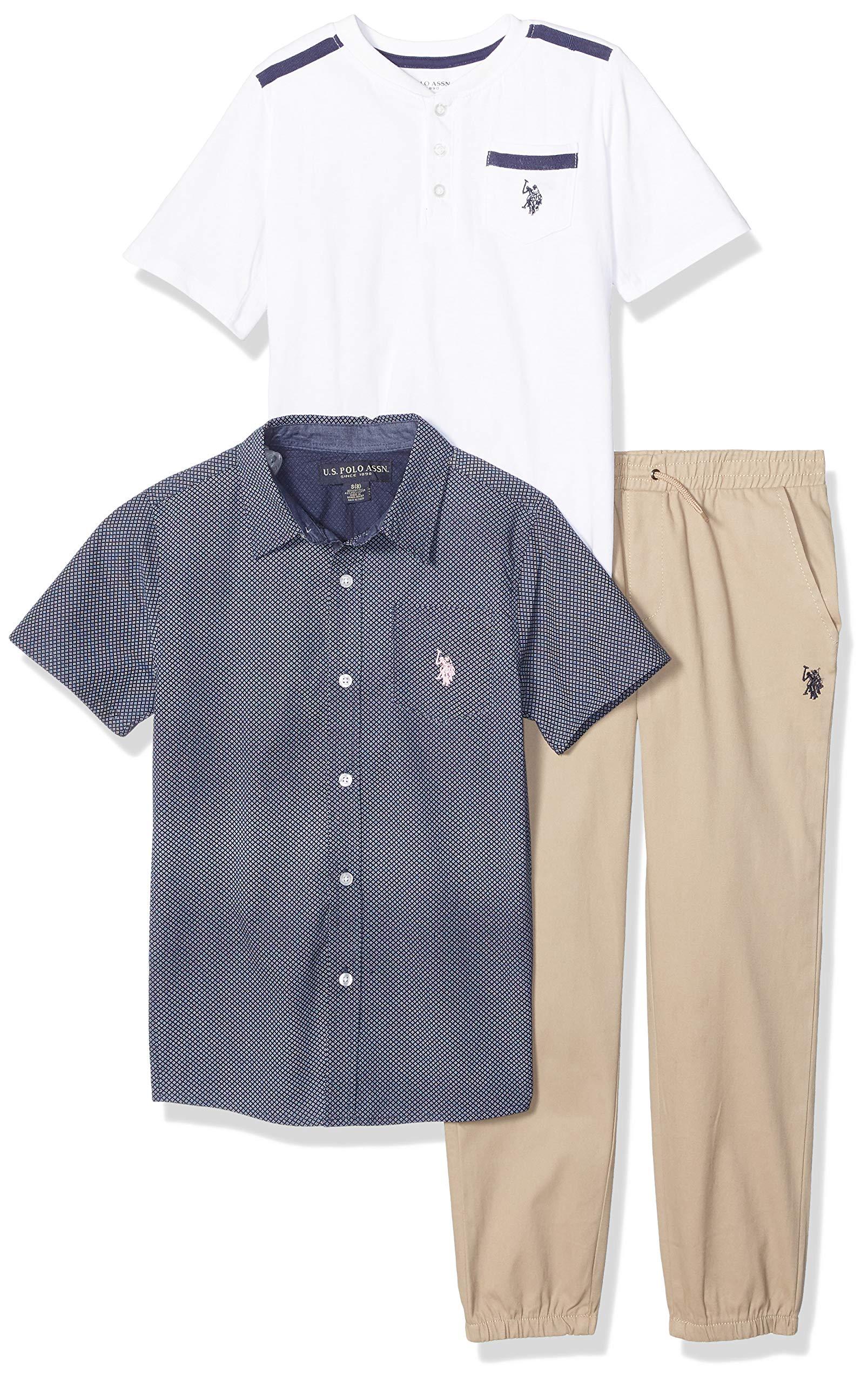 U.S. Polo Assn. Boys' Big 3 Piece Short Sleeve Woven, Henley T-Shirt, and Jogger Set, Light Pink Multi Plaid, 8