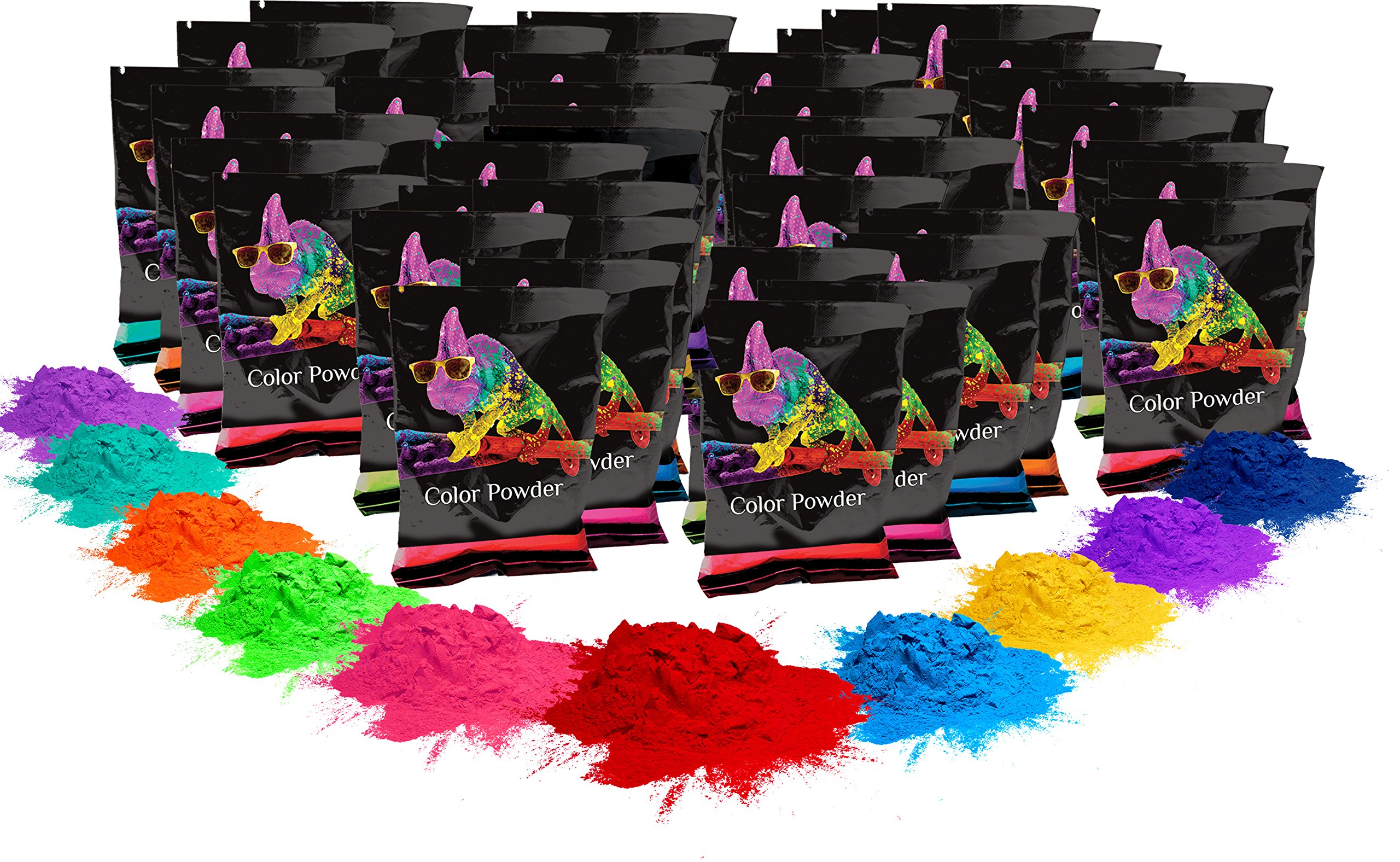 Holi Color Powder- 100 pack. 70g each. 10 of each color. Red, Yellow, Navy Blue, Green, Orange, Purple, Pink, Magenta, True Blue, Aquamarine Chameleon Colors by Chameleon Colors
