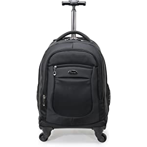 Racini Nylon Waterproof Rolling Backpack, Freewheel Travel School Wheeled Backpack, Carry-on Luggage