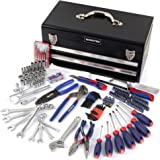 WORKPRO W009028A 229-Piece Mechanic Tool Kit w/ Two Drawer Metal Box, Basic Daily Use Tool Set