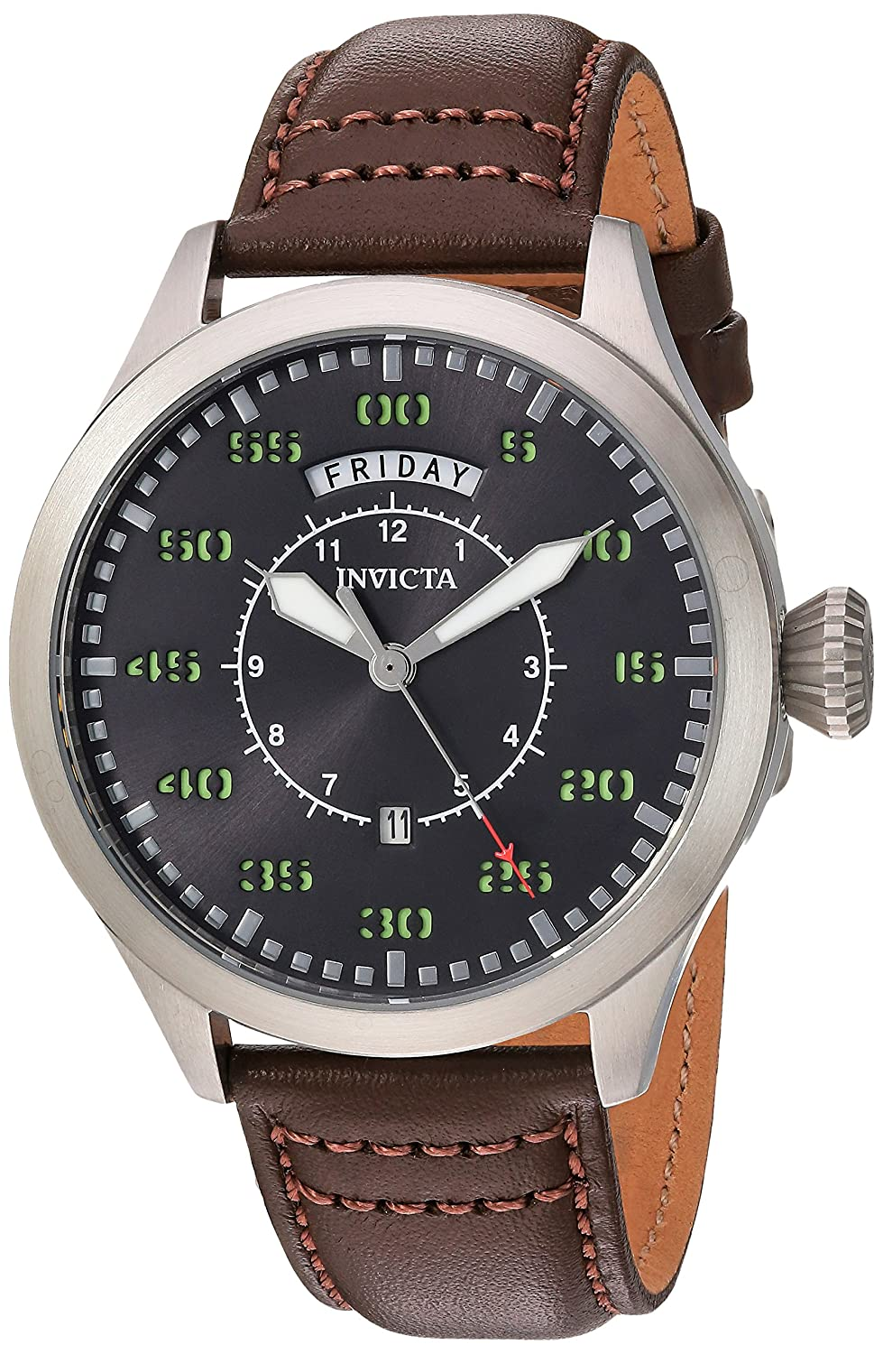 Invicta Men s Aviator Stainless Steel Quartz Watch with Leather Calfskin Strap, Brown, 22 Model 22973
