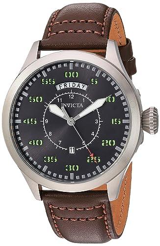 Invicta de los Hombres de Aviador de Cuarzo Reloj Casual de Piel y Acero Inoxidable,