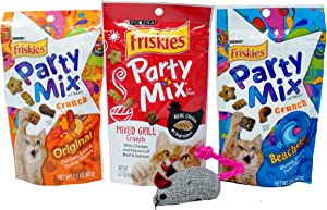 Friskies Party Mix Treats for Cats 3 Flavor Variety Bundle with Catnip Mouse, (1) Each: Original, Mixed Grill, Beachside (2.1 Ounces)