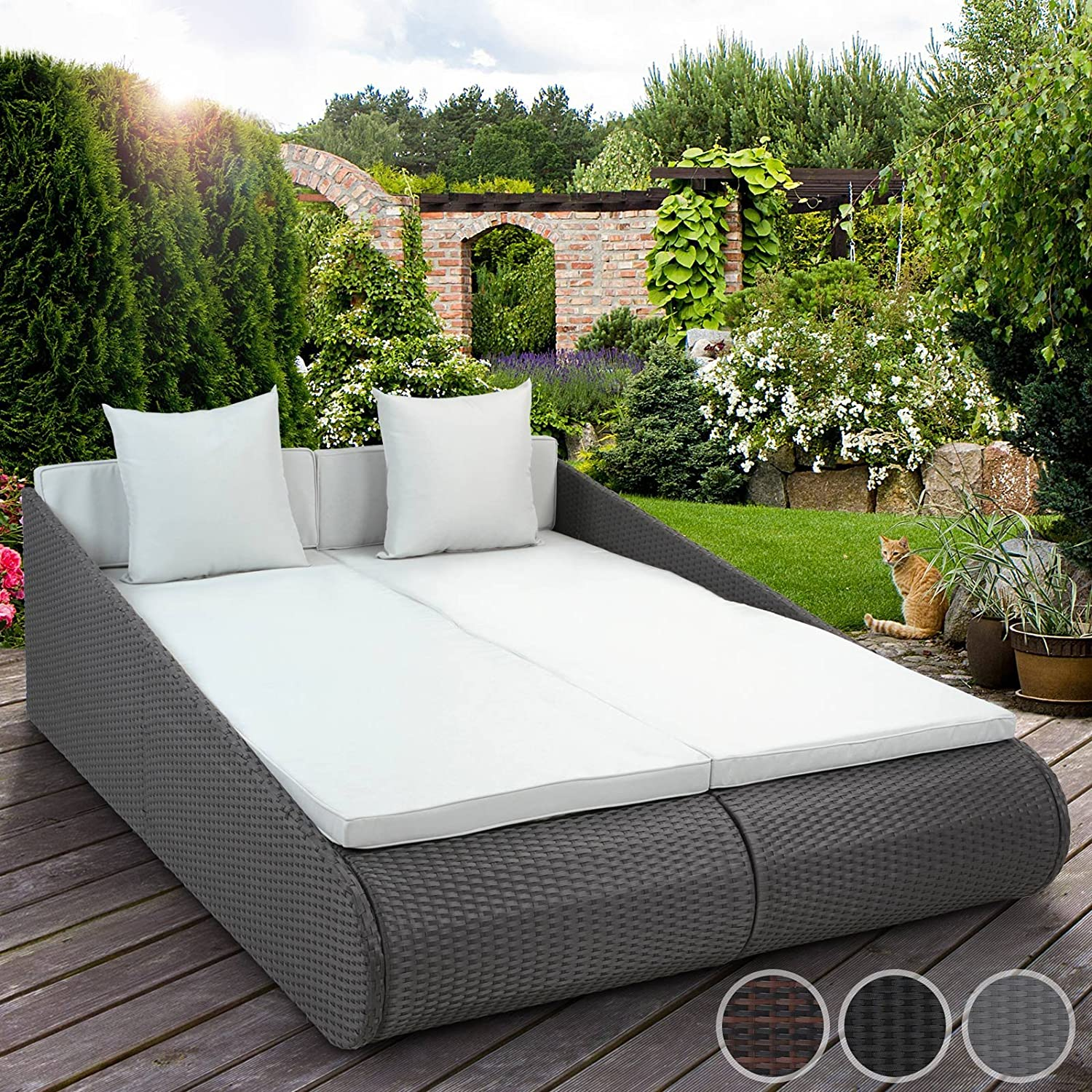 miadomodo sonnenliege lounge gartenm bel sitzpolster gartencouch aus polyrattan mit farbwahl g nstig. Black Bedroom Furniture Sets. Home Design Ideas