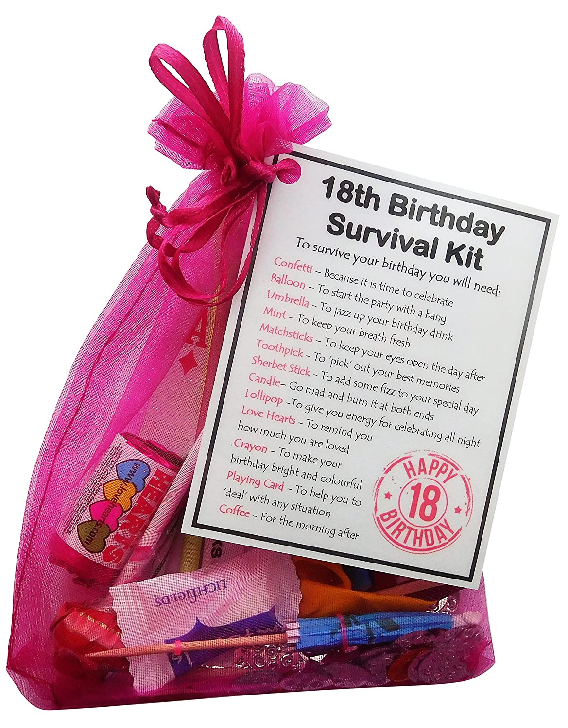 SMILE GIFTS UK 18th Birthday Gift- Unique Survival Kit (Hot Pink) - 18th birthday gift 18th birthday present 18th gift 18th present 18th birthday ...  sc 1 st  Amazon UK & SMILE GIFTS UK 18th Birthday Gift- Unique Survival Kit (Hot Pink ...
