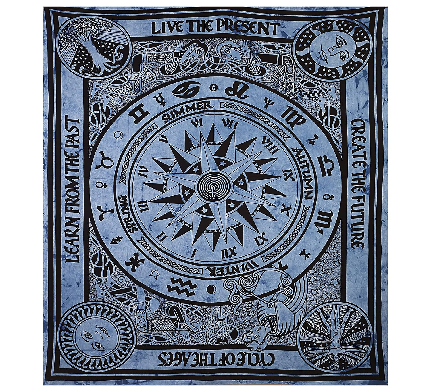 Gokul Handloom Indian Designs Cricle of Age Live The Present Wall Hanging Tapestry Bohemain Home Decor Blue Color Cotton Tapestry Large Big Size Tapestry