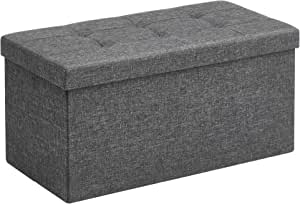 SONGMICS Storage Ottoman Bench, Chest with Lid, Foldable Seat, Bedroom, Hallway, Space-Saving, 80L Capacity, Hold up to 660 lb, 76 x 38 x 38 cm, Dark Gray LSF47K