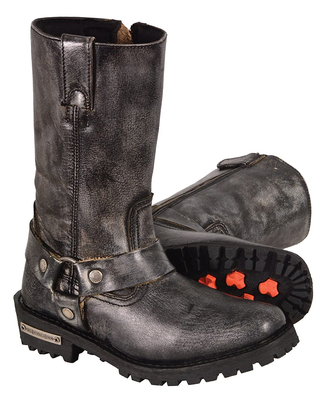 Distrsd Brn 11 Milwaukee Leather Womens Harness Square Toe Boots Size 10 MBL9361-BKBGE-10 Distrsd Brn 11 Black//Beige, Size 10