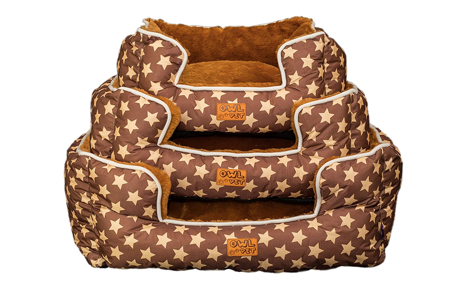 L Owl pet soft cute rectangular shape cats dogs pet bed with removable washable mattress, Premium Oxford fiber, small to large, 14 unique patterns. (brown + yellow star, L)