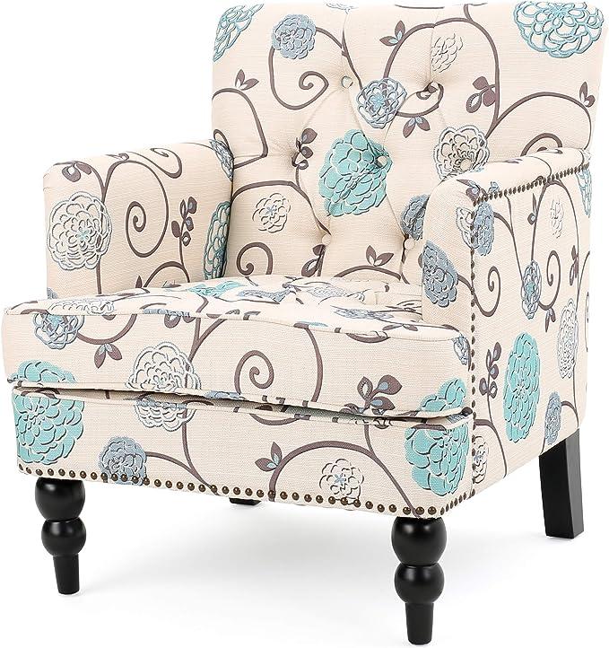 Christopher Knight Home Harrison Fabric Tufted Club Chair White Blue Furniture Decor Amazon Com