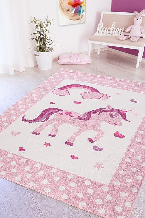 Luxor Living Kinderteppich Spielteppich Kinderzimmer Unicorn Einhorn Design  Teppich, Polypropylen, Rosa, 160x230