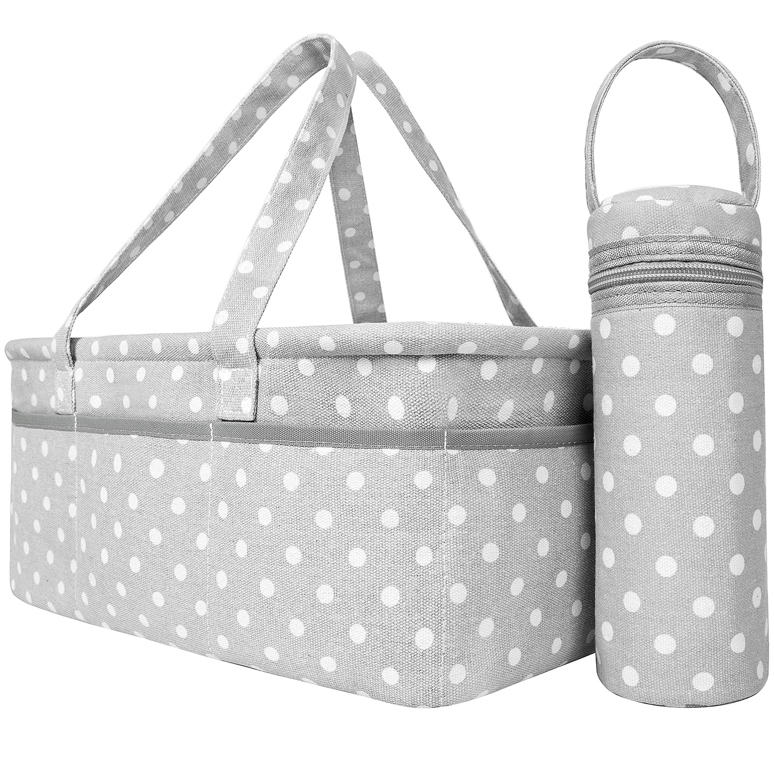 Baby Diaper Caddy Organizer   Baby Shower Registry Must Haves For Boy Girl Gifts Newborn Essentials Basket   Nursery Decor Changing Table Storage For New Mom With Bottle Cooler Bag by Sweet Carling