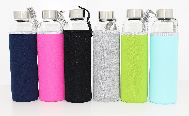 420/ml de cristal t/érmico Botella cantimplora y bolsa de neopreno con correa Cristal de borosilicato