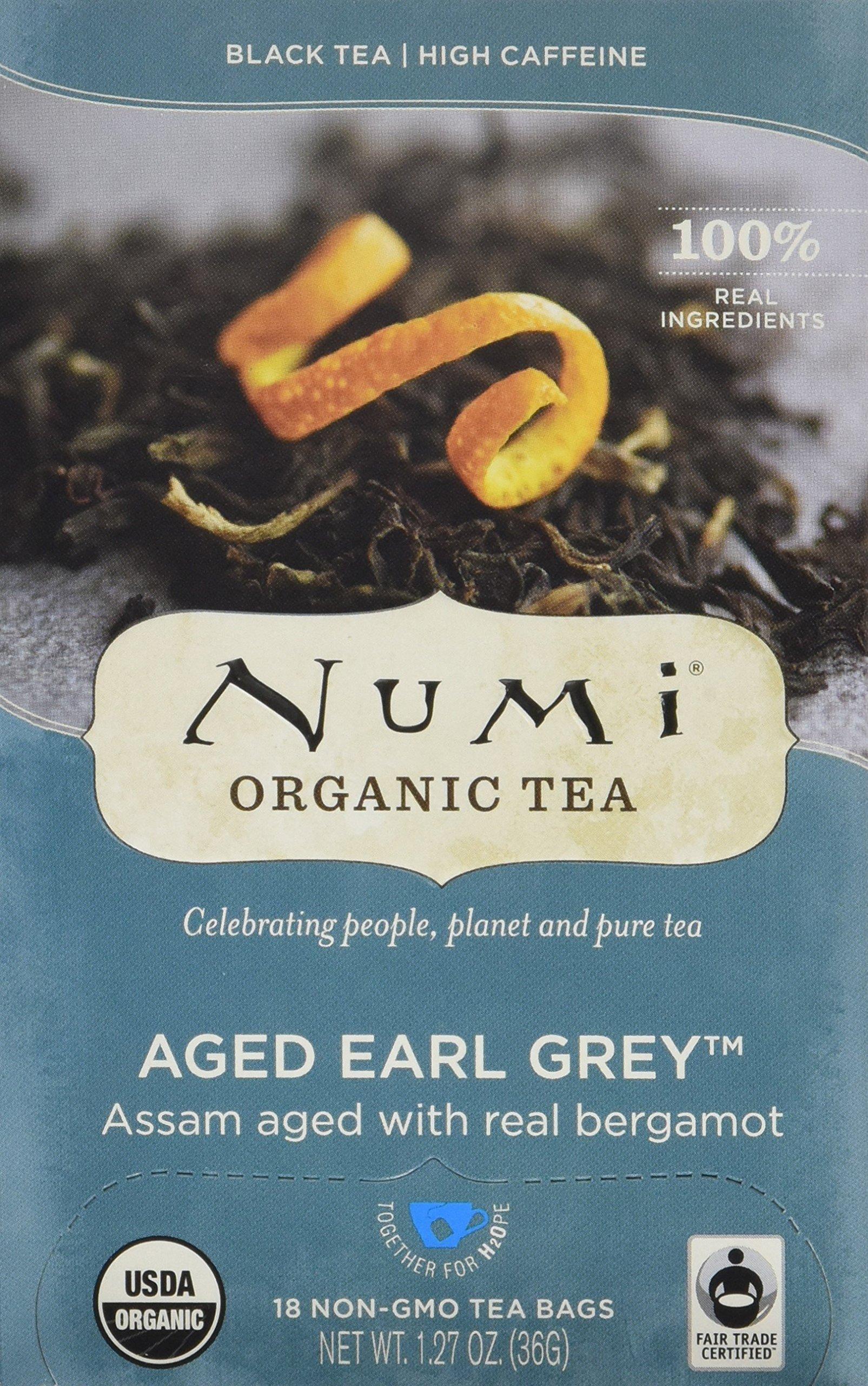 Numi Organic Tea Aged Earl Grey, Full Leaf Black Tea, 18 Count Tea Bags, 1.27 Oz (Pack of 3)