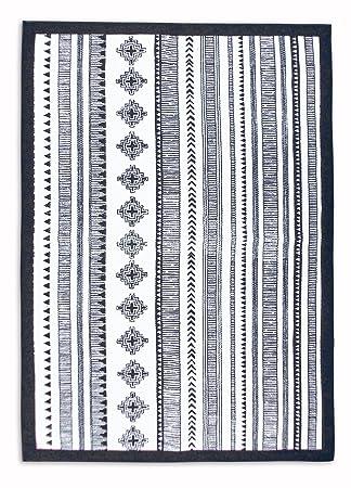 Vliving Tapis Coton Azteque Noir Et Blanc Geometrique Navajo D
