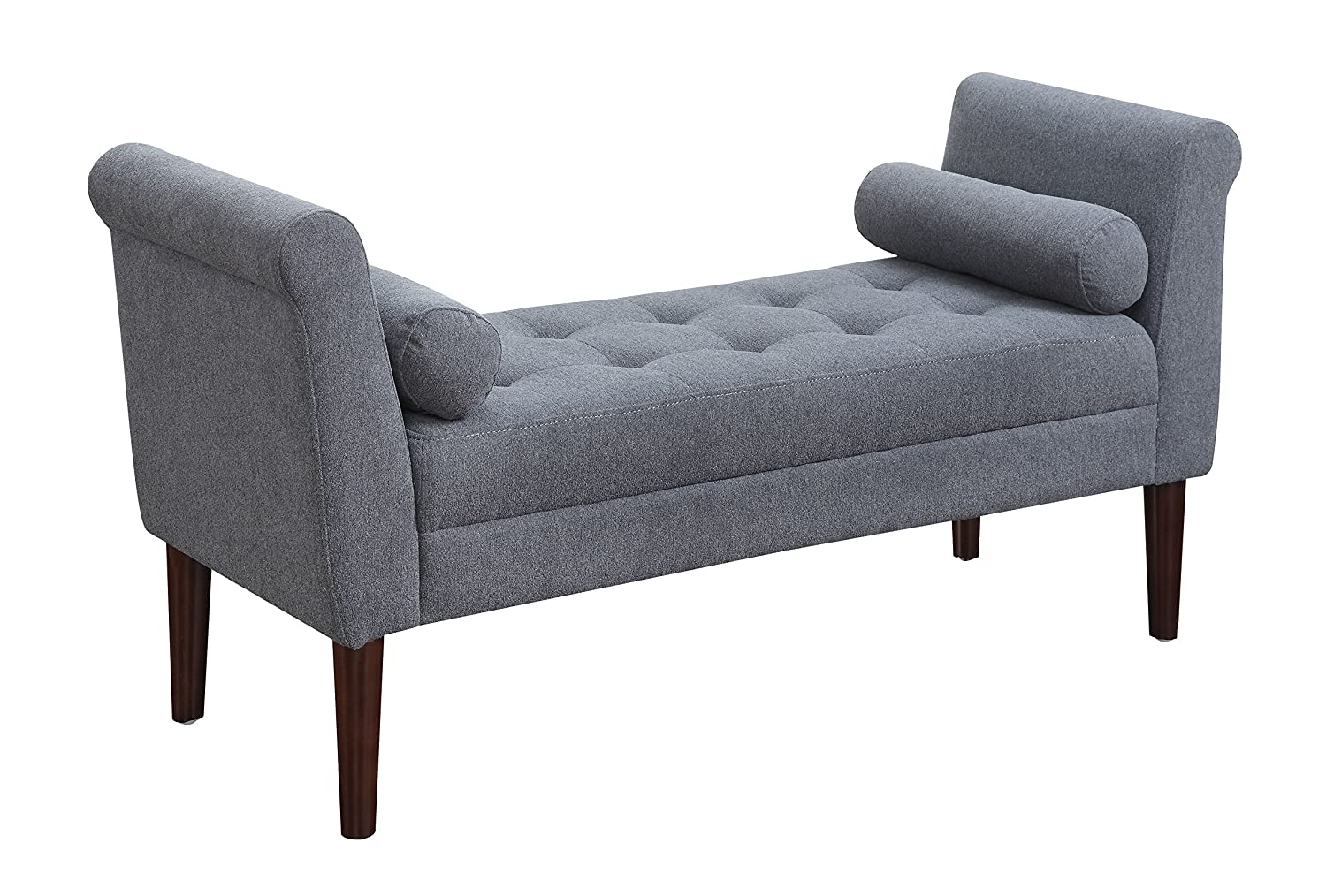 AC Pacific Betty Collection Modern Upholstered Button Tufted Bedroom Bench with Arms and Tapered Legs - Slate Blue