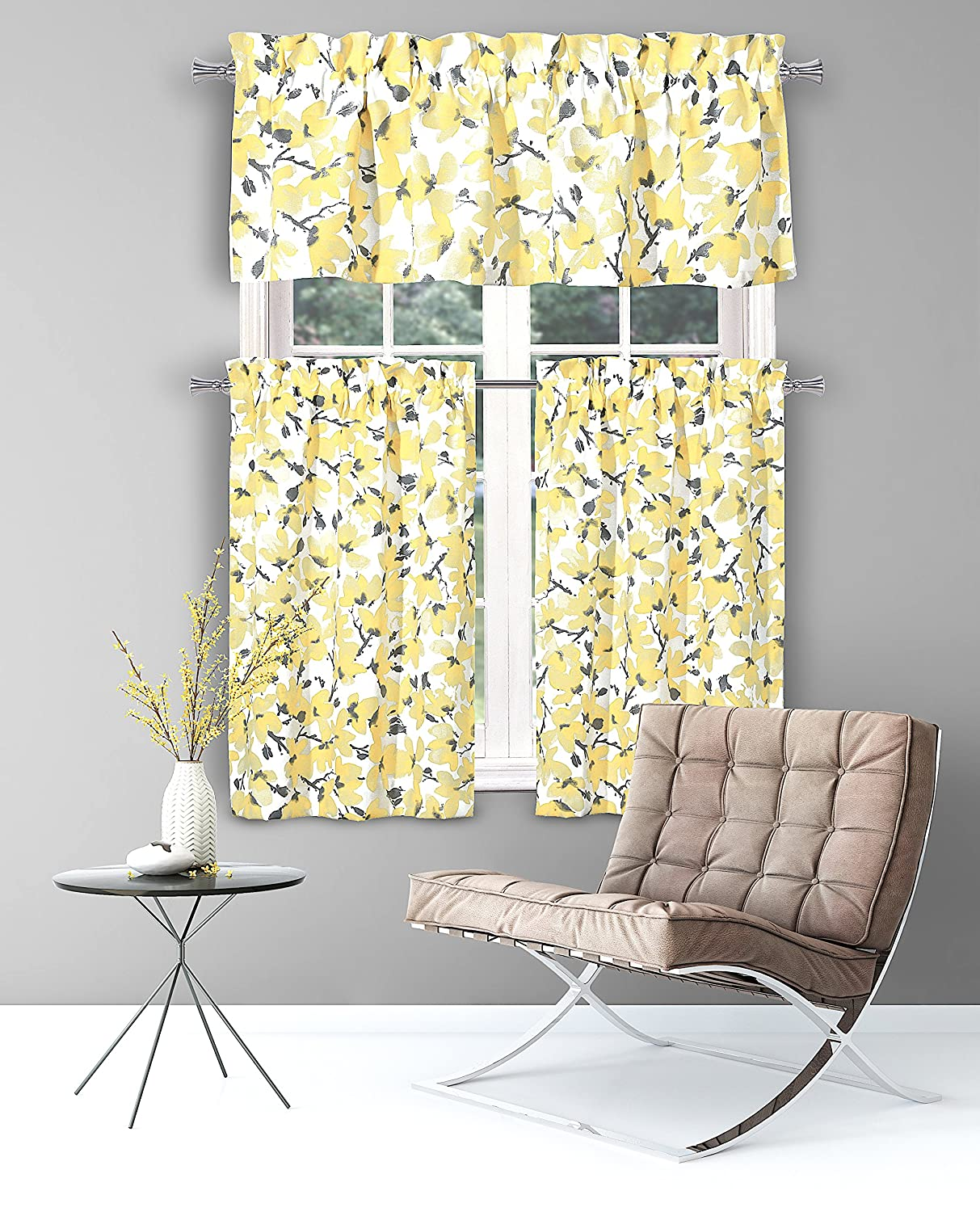 Amazon.com: Floral Yellow Grey Kitchen Curtains: One (1) Valance and ...
