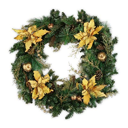 amerique premium stunning and large indoor and outdoor christmas wreath with golden ornaments 32 - Large Outdoor Christmas Wreath