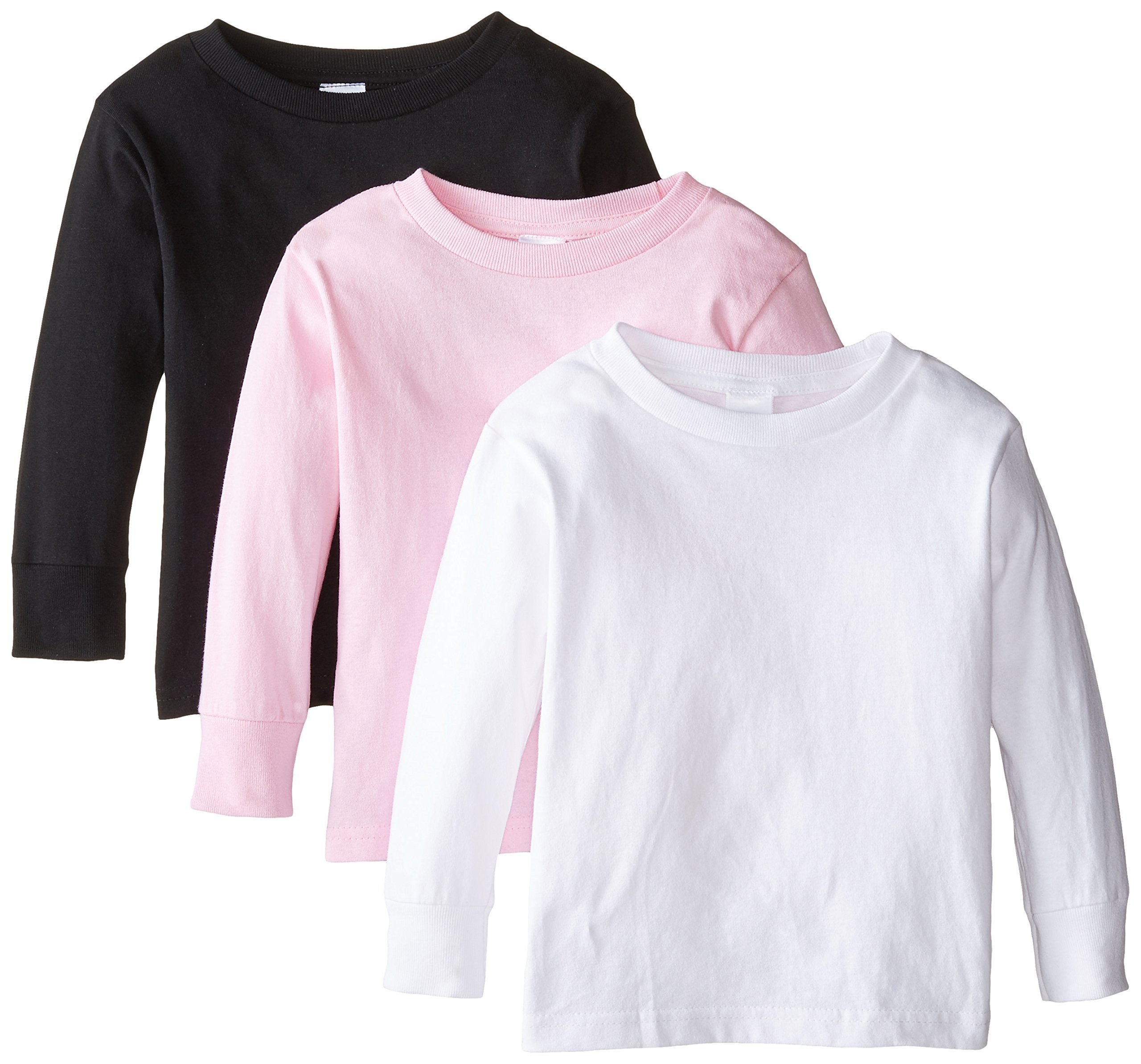 Clementine Little Girls' Toddler Long Sleeve Basic T-Shirt Three-Pack,White/Black/Pink,3T