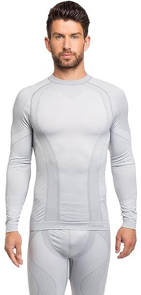 Ladeheid Camiseta Térmica Mangas Largas Ropa Interior Hombre 05 210 (Gris, XS)