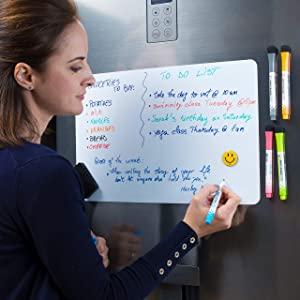 "Magnetic Dry Erase Whiteboard Sheet for Fridge 17x11"" with New Stain Resistant Technology - Best Value All Included - 4 Sizes - White Board for Refrigerator - Kitchen Whiteboard - Reminder Board"